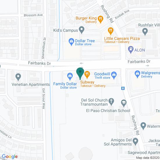 Map of Fairbanks Dr - El Paso, TX